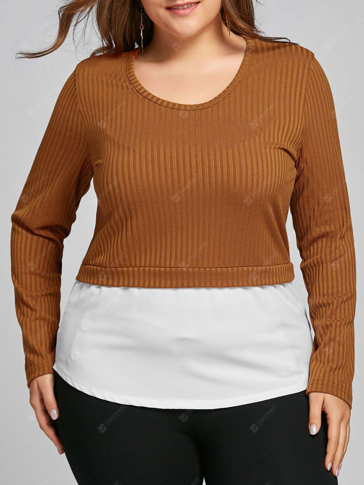 COFFEE 5XL Plus Size High Low Two Tone Blouse