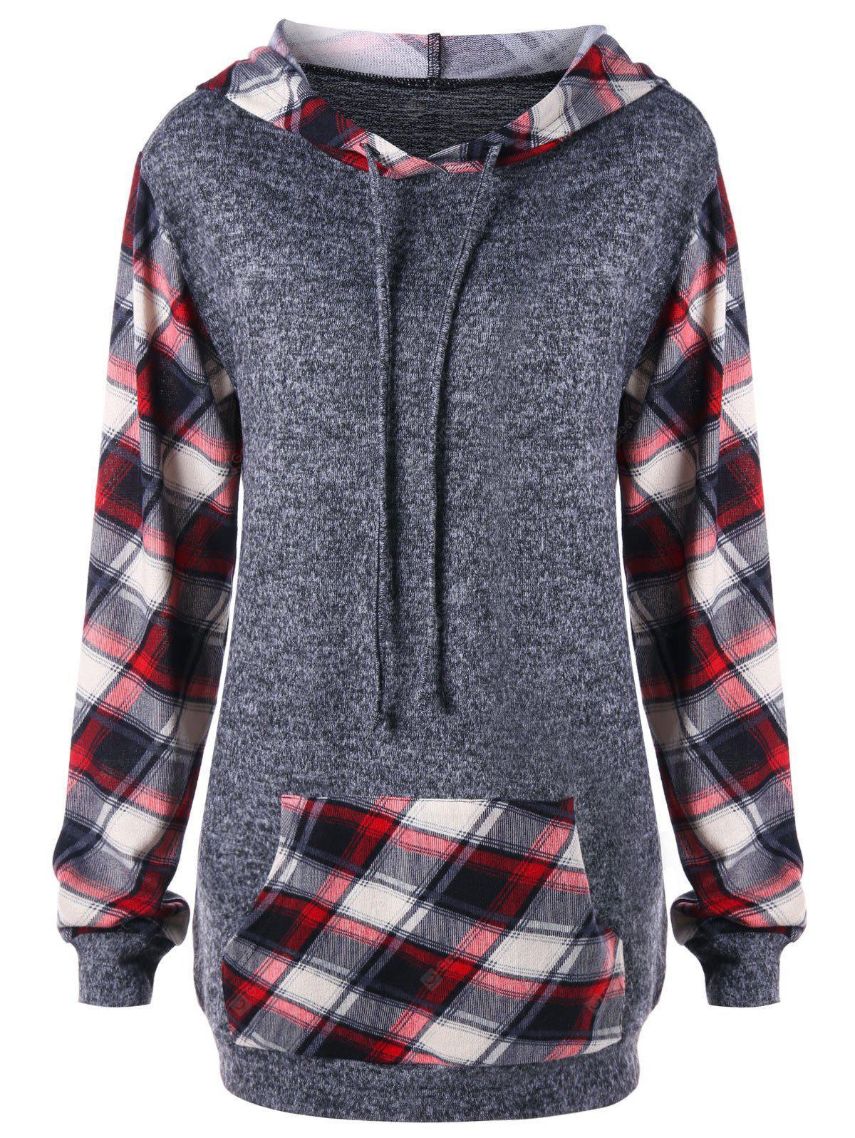 Plaid Kangaroo Pocket Tunic Hoodie