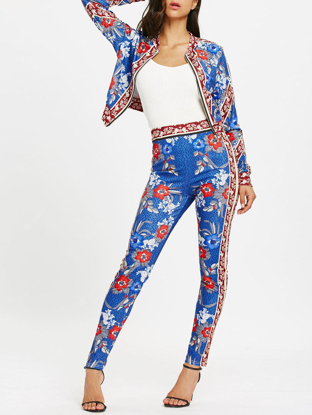 Flower Print Zip Up Jacket with Pencil Pants