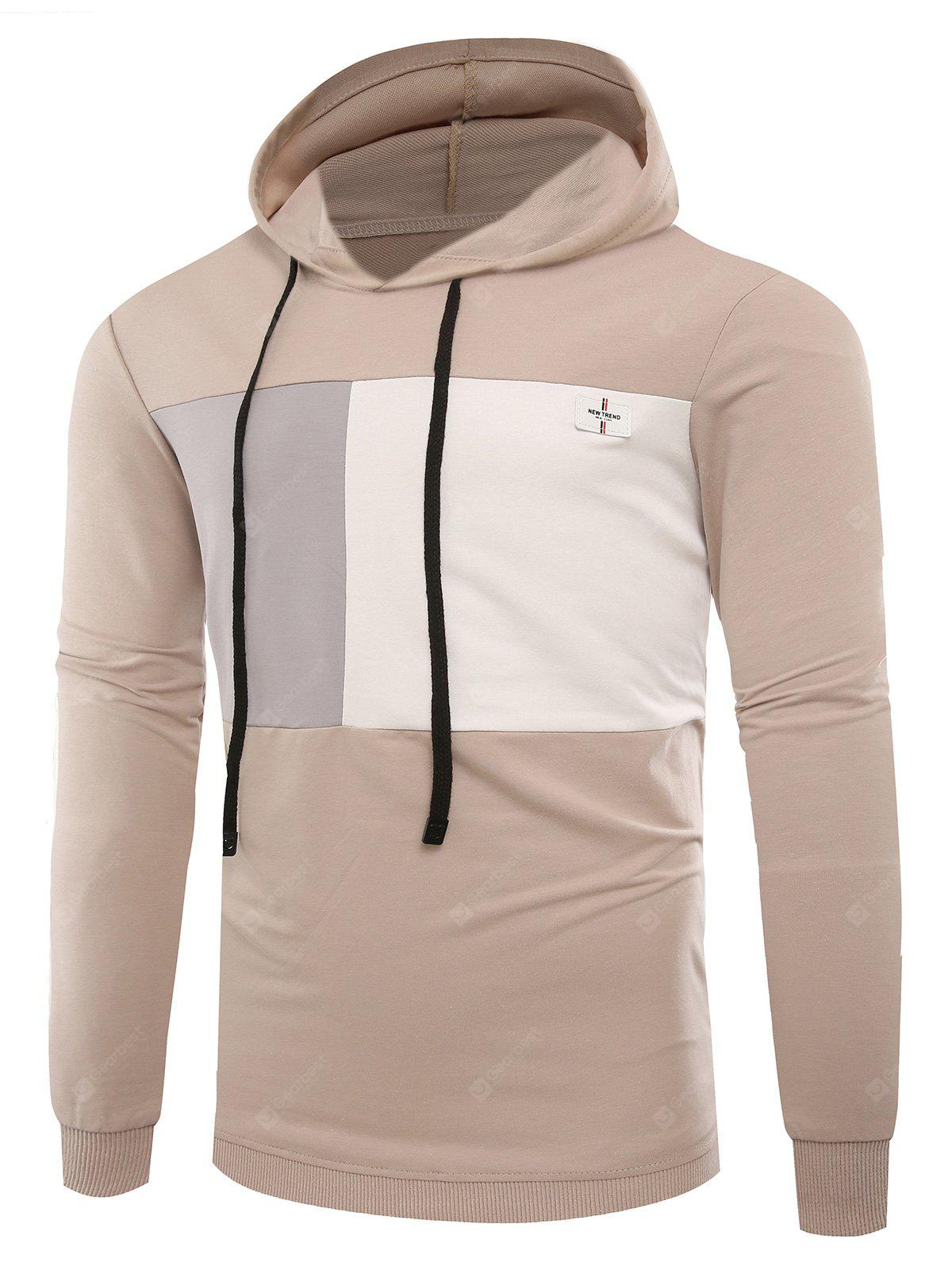 Color Block Panel Applique Pullover Hoodie