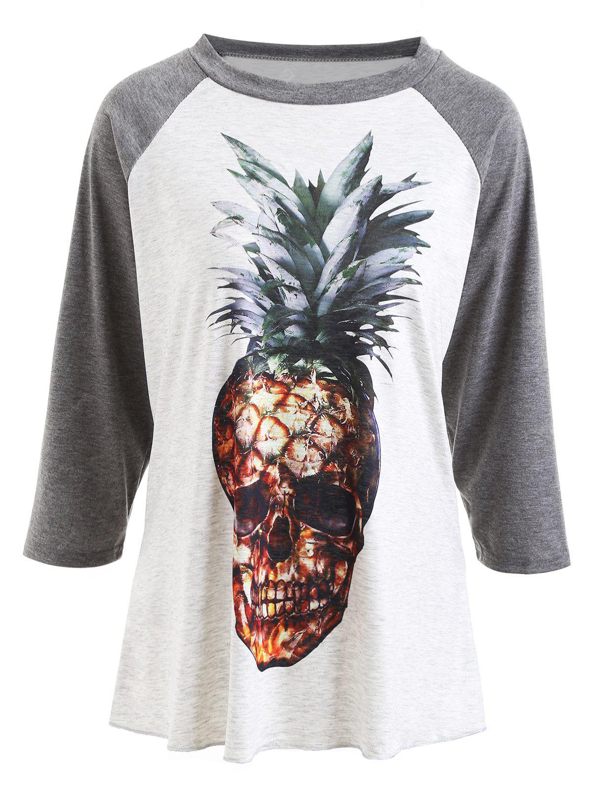Raglan Sleeve Pineapple Skull Print T-shirt