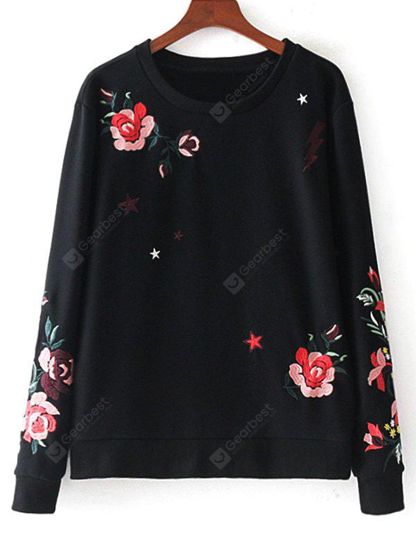 Floral Embroidered Cotton Loose Sweatshirt