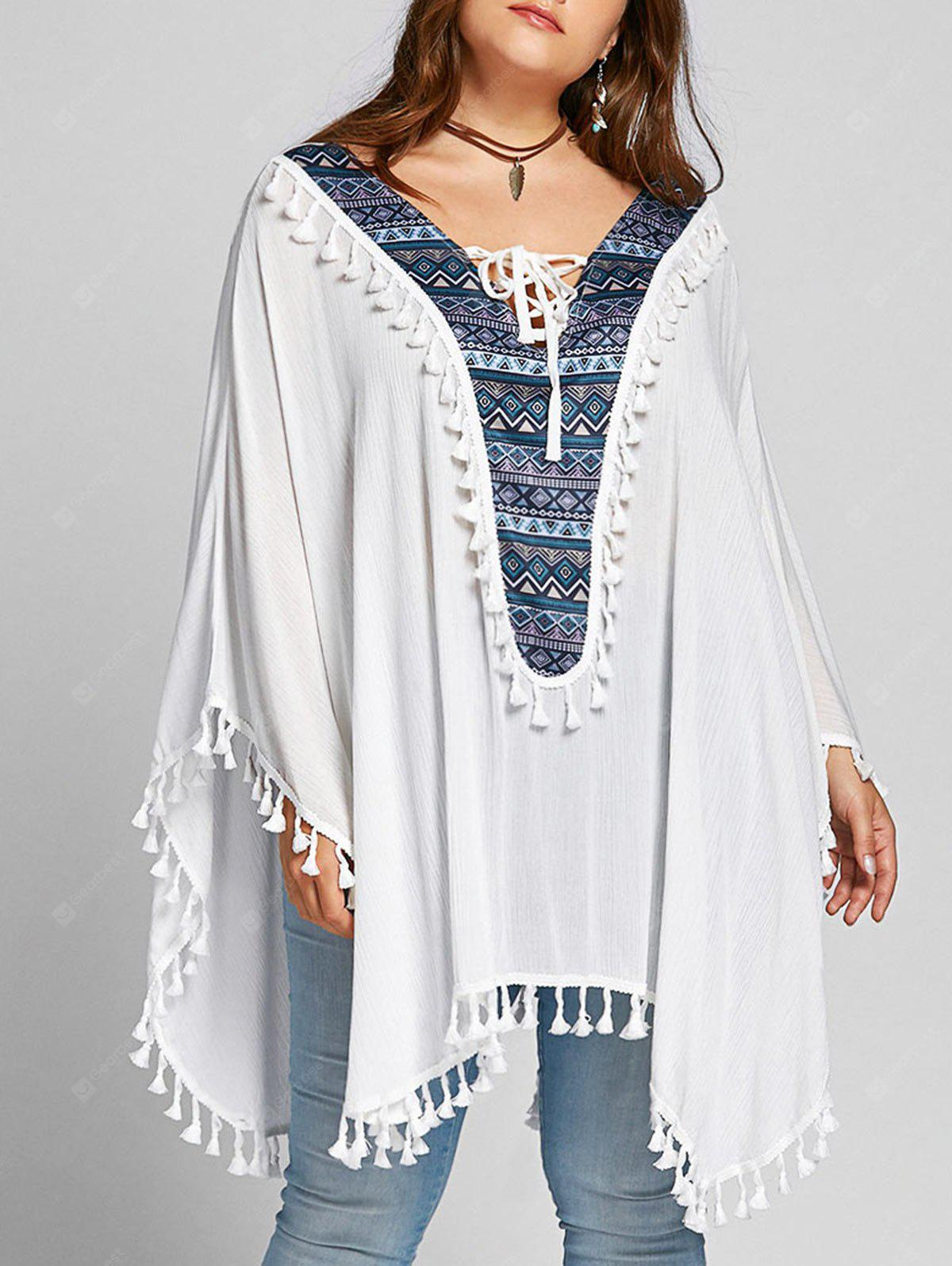 Plus Size Lace Up Tassel Batwing Sleeve Blouse
