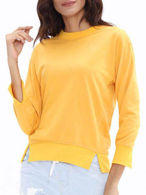 Crew Neck Candy Color Slit Sweatshirt