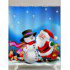 Christmas Snowman and Santa Claus Print Waterproof Shower Curtain - SKY BLUE