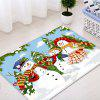 Christmas Snowmen Family Trees Pattern Water Absorption Area Rug - COLORMIX