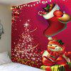 Christmas Snowman and Tree Printed Wall Hanging Tapestry - RED