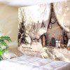 Christmas White Snow House Printed Wall Tapestry - WHITE AND BROWN