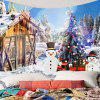 Christmas Snow House and Snowman Printed Wall Tapestry - COLORFUL