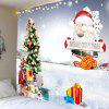 Santa Cluse Christmas Tree Gifts Pattern Wall Tapestry - WHITE AND RED