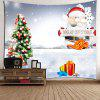 Santa Christmas Tree Gifts Pattern Wall Tapestry - WHITE AND RED