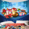 Christmas Candles Balls Gifts Patterned Wall Decor Tapestry - BLUE