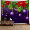 Christmas Hanging Balls Patterned Wall Art Tapestry - PURPLE AND GREEN