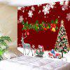 Christmas Decorations Tree Elk Snowflakes Printed Tapestry - RED AND WHITE