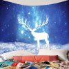 Starry Sky Christmas Elk Printed Wall Hanging Tapestry - BLUE