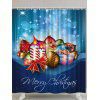 Christmas Theme Printed Polyester Waterproof Shower Curtain - BLUE