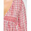Ethnic Graphic Plunging Plus Size Blouse - RED