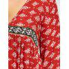 Plus Size Plunging Ethnic Graphic Dress - DARKSALMON