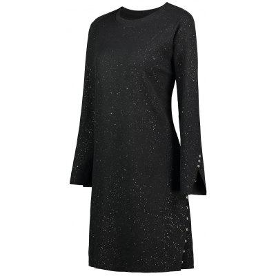 Plus Size Glitter Button Embellished Knitted Dress