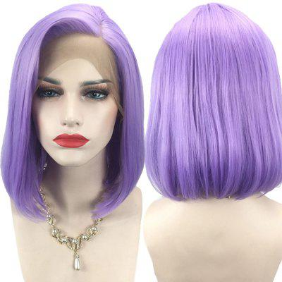 Short Side Parting Straight Bob Lace Front Synthetic Wig