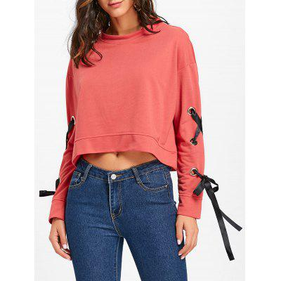 Lace Up Sleeve Sweatshirt with Grommet
