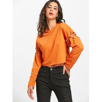 Drop Shoulder Lace Up Cropped SweatshirtSweatshirts &amp; Hoodies<br>Drop Shoulder Lace Up Cropped Sweatshirt<br><br>Material: Cotton, Polyester<br>Package Contents: 1 x Sweatshirt<br>Pattern Style: Solid<br>Season: Fall, Spring<br>Shirt Length: Short<br>Sleeve Length: Full<br>Style: Fashion<br>Weight: 0.2500kg