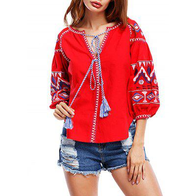 Puff Sleeve Tribal Print Tassels BlouseBlouses<br>Puff Sleeve Tribal Print Tassels Blouse<br><br>Collar: Scoop Neck<br>Material: Polyester, Spandex<br>Package Contents: 1 x Blouse<br>Pattern Type: Print<br>Season: Fall, Spring<br>Shirt Length: Regular<br>Sleeve Length: Three Quarter<br>Style: Fashion<br>Weight: 0.3000kg