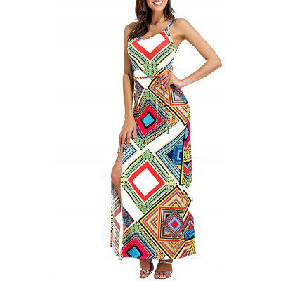 Cut Out Geometrical High Slit Maxi DressWomens Dresses<br>Cut Out Geometrical High Slit Maxi Dress<br><br>Dresses Length: Floor-Length<br>Embellishment: Cut Out<br>Material: Polyester, Spandex<br>Neckline: Spaghetti Strap<br>Package Contents: 1 x Dress<br>Pattern Type: Geometric<br>Season: Fall, Spring<br>Silhouette: A-Line<br>Sleeve Length: Sleeveless<br>Style: Brief<br>Weight: 0.3200kg<br>With Belt: No