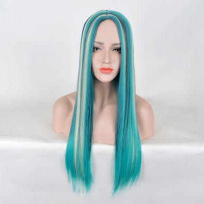 Long Center Parting Straight Colormix Party Synthetic Wig