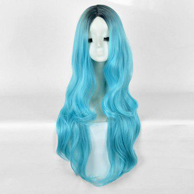 Long Center Parting Ombre Wavy Synthetic Party Wig
