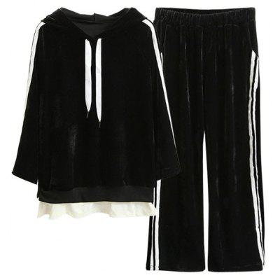 Striped Velvet Hoodie and Wide Leg Pants