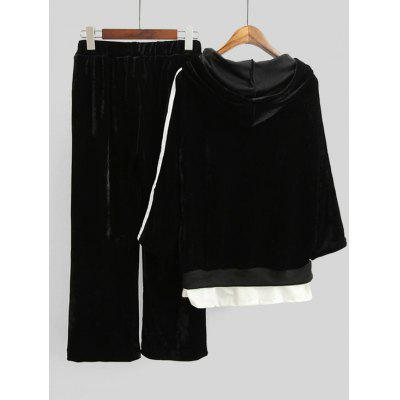 Striped Velvet Hoodie and Wide Leg PantsSweatshirts &amp; Hoodies<br>Striped Velvet Hoodie and Wide Leg Pants<br><br>Material: Polyester<br>Package Contents: 1 x Hoodie  1 x Pants<br>Pattern Style: Striped<br>Shirt Length: Regular<br>Sleeve Length: Three Quarter<br>Weight: 1.0100kg