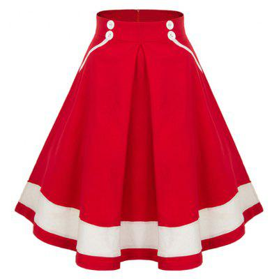 Buttoned High Waisted Midi Pleated Skirt