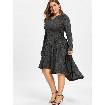Plus Size Lace Up Dip Hem Hooded DressPlus Size Dresses<br>Plus Size Lace Up Dip Hem Hooded Dress<br><br>Dresses Length: Mid-Calf<br>Material: Rayon, Spandex<br>Neckline: Hooded<br>Package Contents: 1 x Dress<br>Pattern Type: Solid<br>Season: Spring, Fall<br>Silhouette: A-Line<br>Sleeve Length: Long Sleeves<br>Style: Casual<br>Weight: 0.6000kg<br>With Belt: No
