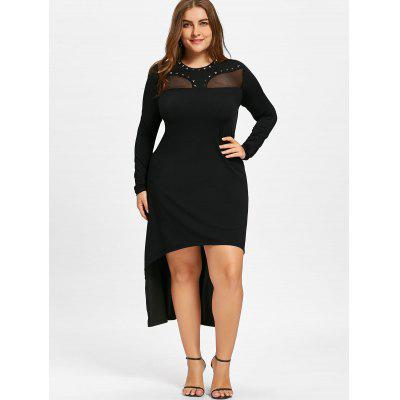 Plus Size Mesh Insert High Low Hem DressPlus Size Dresses<br>Plus Size Mesh Insert High Low Hem Dress<br><br>Dresses Length: Mid-Calf<br>Embellishment: Rivet<br>Material: Polyester<br>Neckline: Round Collar<br>Package Contents: 1 x Dress<br>Pattern Type: Solid Color<br>Season: Fall, Spring<br>Silhouette: Pencil<br>Sleeve Length: Long Sleeves<br>Style: Club<br>Weight: 0.4000kg<br>With Belt: No