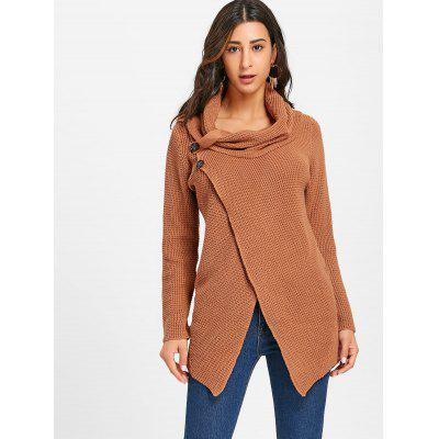 Front Slit Cowl Neck Knitted SweaterSweaters &amp; Cardigans<br>Front Slit Cowl Neck Knitted Sweater<br><br>Collar: Cowl Neck<br>Embellishment: Slit<br>Material: Cotton<br>Package Contents: 1 x Sweater<br>Pattern Type: Solid<br>Season: Fall, Spring<br>Sleeve Length: Full<br>Style: Fashion<br>Type: Pullovers<br>Weight: 0.7500kg