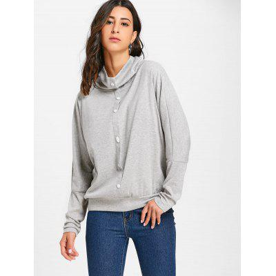 Buttons Cowl Neck Batwing Sleeve TopBlouses<br>Buttons Cowl Neck Batwing Sleeve Top<br><br>Collar: Cowl Neck<br>Embellishment: Button<br>Material: Cotton, Polyester<br>Package Contents: 1 x Top<br>Pattern Type: Solid Color<br>Season: Fall, Spring<br>Shirt Length: Regular<br>Sleeve Length: Full<br>Sleeve Type: Batwing Sleeve<br>Style: Fashion<br>Weight: 0.3700kg