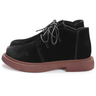 Round Toe Stacked Heel Low Cut BootsWomens Boots<br>Round Toe Stacked Heel Low Cut Boots<br><br>Boot Height: Ankle<br>Boot Type: Fashion Boots<br>Closure Type: Lace-Up<br>Gender: For Women<br>Heel Height: 3CM<br>Heel Height Range: Low(0.75-1.5)<br>Heel Type: Flat Heel<br>Package Contents: 1 x Boots (pair)<br>Pattern Type: Solid<br>Season: Spring/Fall, Winter<br>Shoe Width: Medium(B/M)<br>Toe Shape: Round Toe<br>Upper Material: Suede<br>Weight: 1.1200kg