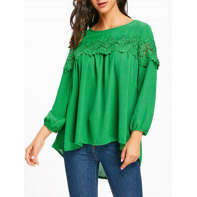 Lace Insert Scoop Neck High Low Blouse