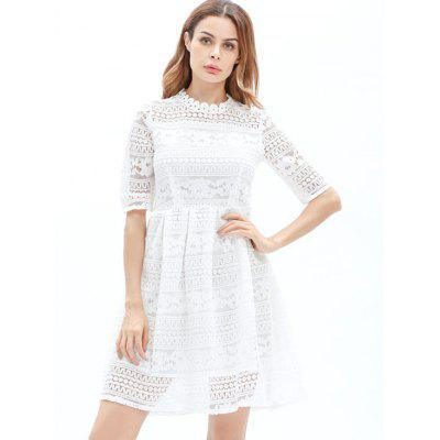 Embroidered Lace Mini A Line DressWomens Dresses<br>Embroidered Lace Mini A Line Dress<br><br>Dresses Length: Mini<br>Material: Polyester<br>Neckline: Ruffled<br>Occasion: Party, Evening<br>Package Contents: 1 x Dress<br>Pattern Type: Solid<br>Season: Fall, Spring<br>Silhouette: A-Line<br>Sleeve Length: Half Sleeves<br>Style: Brief<br>Weight: 0.4100kg<br>With Belt: No