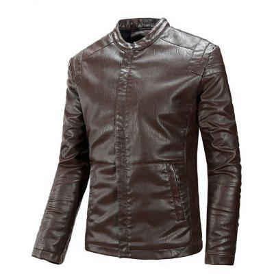 Zipper Pocket Flocking Faux Leather Jacket