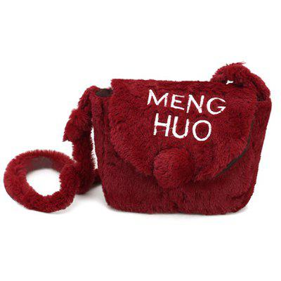 Buy RED Faux Fur Pompom Letter Crossbody Bag for $14.46 in GearBest store