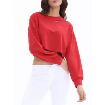 Cut Out Ripped High Low Cropped SweatshirtSweatshirts &amp; Hoodies<br>Cut Out Ripped High Low Cropped Sweatshirt<br><br>Material: Polyester<br>Package Contents: 1 x Sweatshirt<br>Pattern Style: Solid<br>Season: Fall, Spring<br>Shirt Length: Short<br>Sleeve Length: Full<br>Style: Casual<br>Weight: 0.3000kg