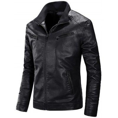 Zip Up Flocking PU Leather Jacket