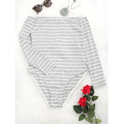 Off Shoulder Stripes Bodysuit de manga comprida