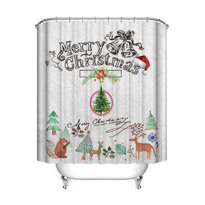 Christmas Cartoon Theme Print Waterproof Shower Curtain
