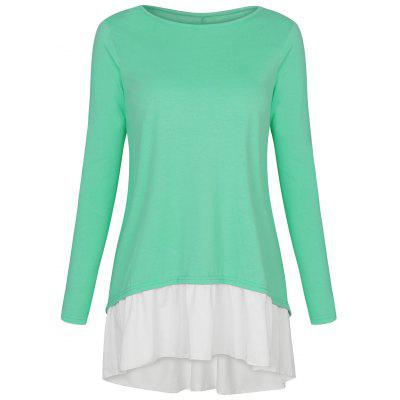 High Low Two Tone Button Embellished T-shirtBlouses<br>High Low Two Tone Button Embellished T-shirt<br><br>Collar: Round Neck<br>Embellishment: Button<br>Material: Polyester<br>Package Contents: 1 x T-shirt<br>Pattern Type: Others<br>Season: Fall, Spring<br>Shirt Length: Long<br>Sleeve Length: Full<br>Style: Fashion<br>Weight: 0.3300kg