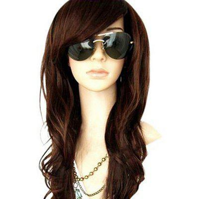 Buy DEEP BROWN Long Side Bang Wavy Heat Resistant Synthetic Wig for $14.04 in GearBest store