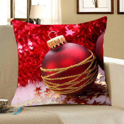 Red Christmas Ball Printed Decorative Pillow Case