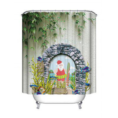 Christmas Door Santa Print Waterproof Shower Curtain